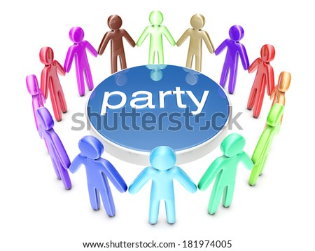 A diverse group of party people. 3D rendered Illustration.