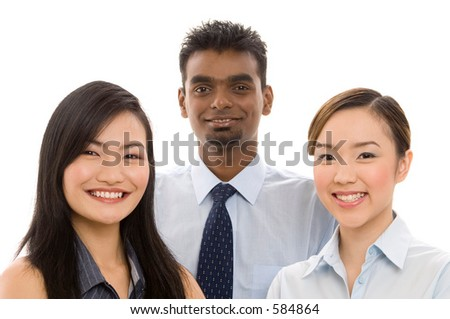 A diverse group of smiling professionals