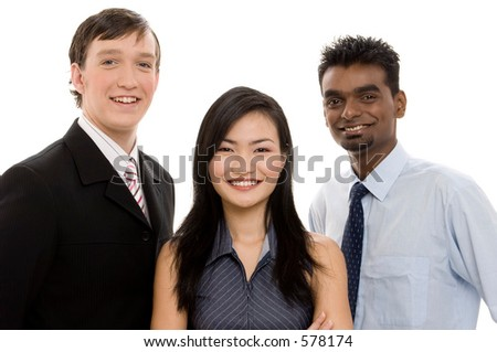 A diverse group of three individuals make up this business team