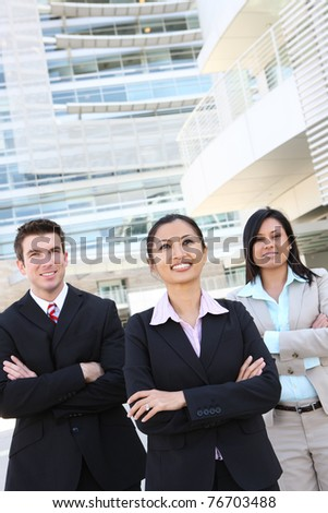 A diverse man and woman business team at office building