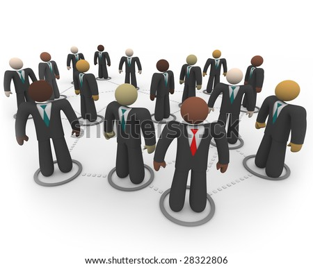 A diverse social network of business people in suits and ties - stock photo