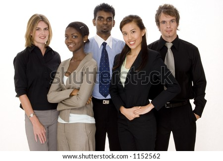 A diverse team of three businesswomen and two businessmen - stock photo