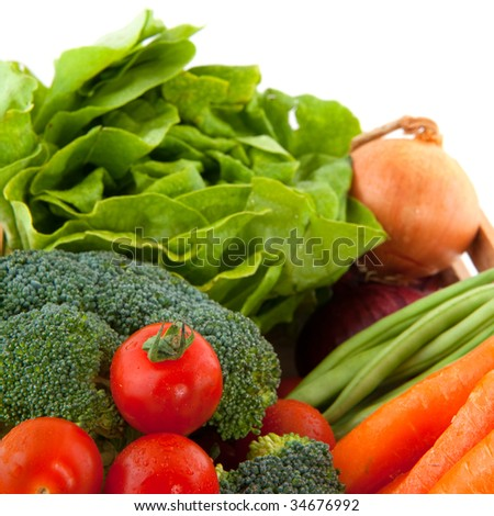 a diversity vegetables isolated over white