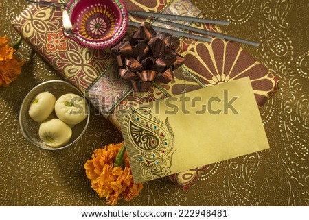 Diwali gifts stock images royalty free images vectors a diwali gift set up with an empty message tag negle Choice Image