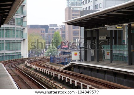 A Docklands Light Rail station in New London City ( Canary Wharf in London)