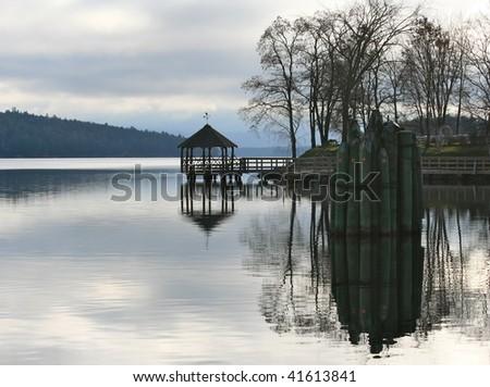 A dockside gazebo - stock photo