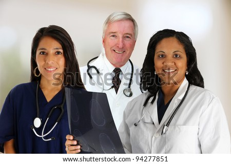 A Doctor and Nurse Team set in their office - stock photo