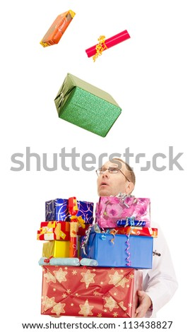 A doctor catching a lot of gifts