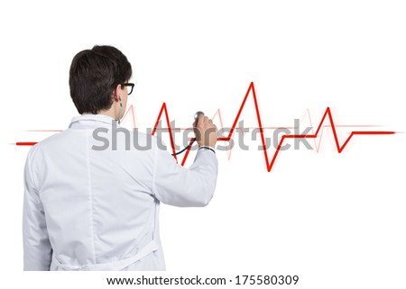A doctor checking a heart rhythm 6 - stock photo