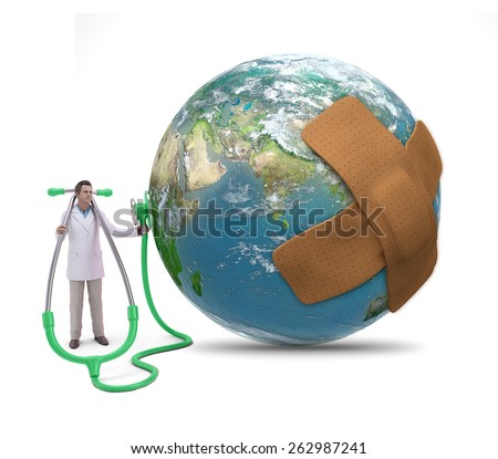 A doctor examining Earth with a band aid  - stock photo