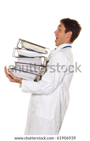 A doctor in trouble with stacks of files. Bureaucracy in the hospital. - stock photo
