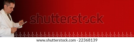 A doctor is writing on a clipboard and is against a red and black gradient background with a grid and a pulse on the footer. - stock photo
