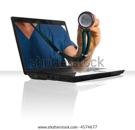 A doctor's hand sticking out of a laptop - stock photo