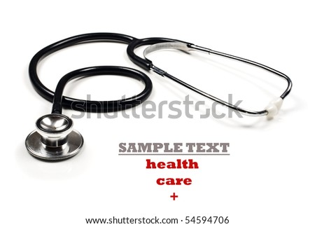 a Doctor's stethoscope on a white background with space for text - stock photo