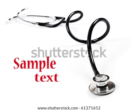a Doctor's stethoscope on  a white background with space fot text - stock photo