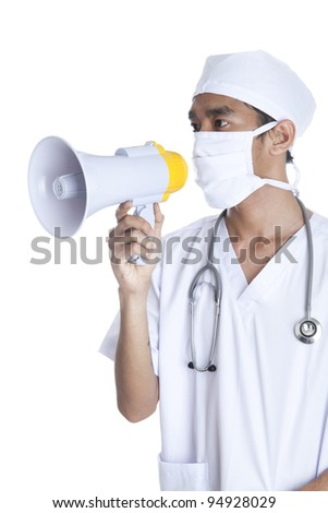 A doctor screaming on megaphone
