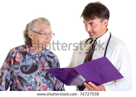 A doctor with a senior woman as his patient.