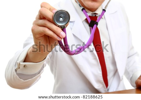 A doctor with a stethoscope, close-up, isolated on white - stock photo
