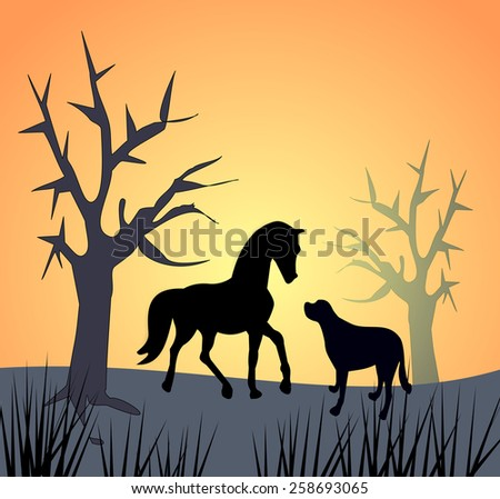 A dog and a horse and some bare trees in the sunset or sunrise.  - stock photo