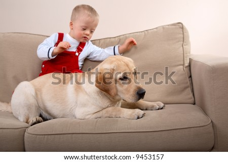 A dog and young boy with Down Syndrome together on a sofa. - stock photo