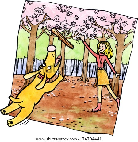 A dog jumping for a stick on a spring day. Watercolor and ink illustration. - stock photo