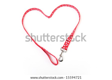 A dog lead in the shape of a heart - stock photo