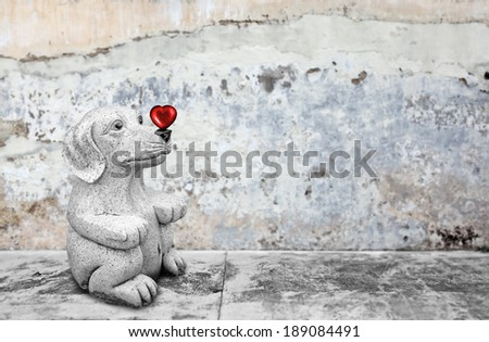 A dog with a big red heart on its nose by a concrete pavement for the concept of puppy love. - stock photo