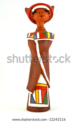 ... tribe in South Africa isolated on white background - stock photo