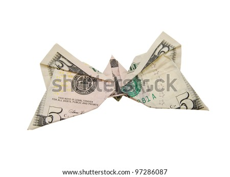 A dollar butterfly isolated white - stock photo