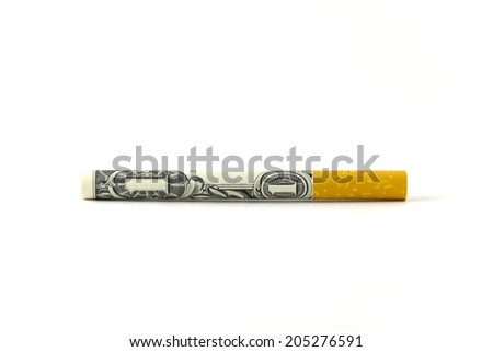 A dollar rolled up as a cigarette to symbolize how expensive this habit has become - stock photo