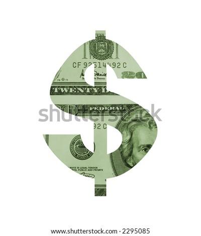 A dollar sign filled with twenty dollar bills. - stock photo