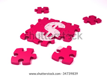 A dollar symbol made by puzzle's pieces on white background - stock photo