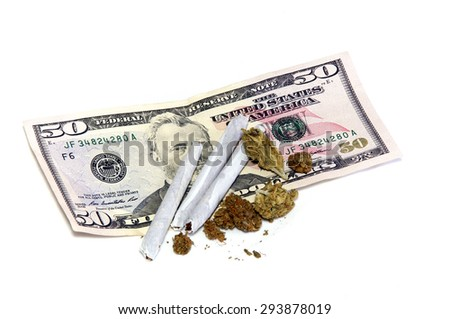 A 50 dollar US bill is shown under a cluster of marijuana pot buds and three joints, over white. - stock photo