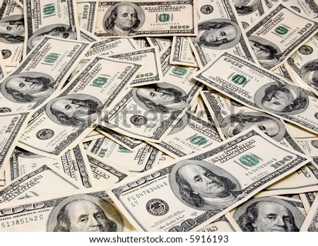 A 100 dollars bills texture - stock photo