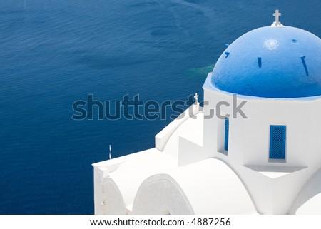 A dome of a church in Santorini - stock photo