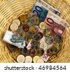 A donation basket for collection. Donation of euro - stock photo