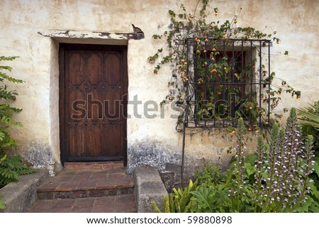 A Door in Carmel Mission - stock photo
