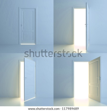 A door is opened for four stages. Four different positions of one door - stock photo
