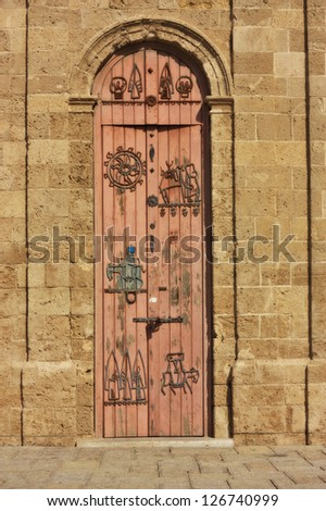 A door of a famouse old city of Jaffa clock, Israel - stock photo