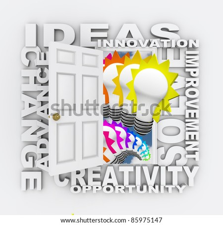 A door opening to show light bulbs and surrounded by the words Ideas, Innovation, Improvement, Solve, Creation, Opportunity, Advance and Change - stock photo
