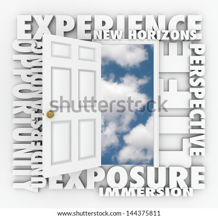 A door opens to expose a clear blue sky of opportunity with the words Exposure, New Horizons, Exposure, Immersion, Understanding, Perspective and Life - stock photo