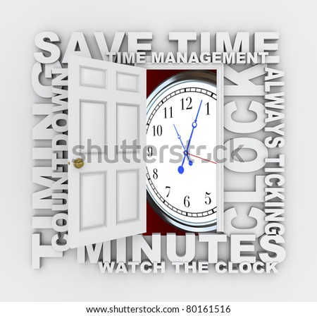 A door opens to reveal a ticking clock surrounded by words like Save Time, Ticking Away, Timing, Minutes, Countdown and more - stock photo