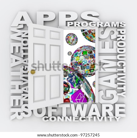 A door opens to reveal many words of apps - spheres made up of application icons and tiles for downloading to a smart phone, tablet computer or other mobile device - stock photo