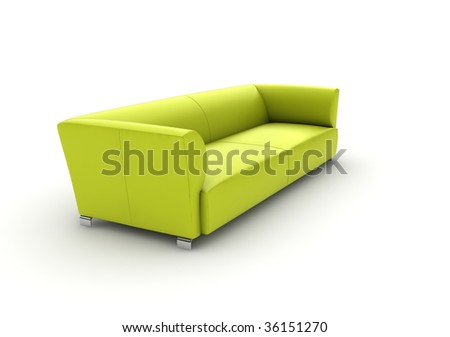 a double leather sofa isolated with white background.
