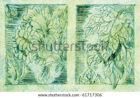 A double-printed intaglio etching of a mum blossom and a maple leaf - Visible wipe marks - stock photo
