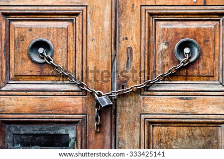 A double wooden door chained closed - stock photo