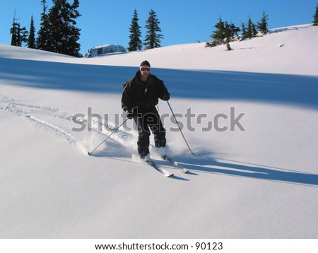 A Downhill Skier. - stock photo
