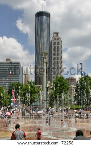 A downtown Atlanta park and fountain - stock photo