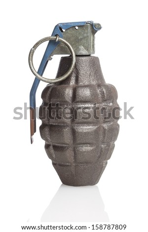 A drab green hand grenade on white with a reflection. - stock photo