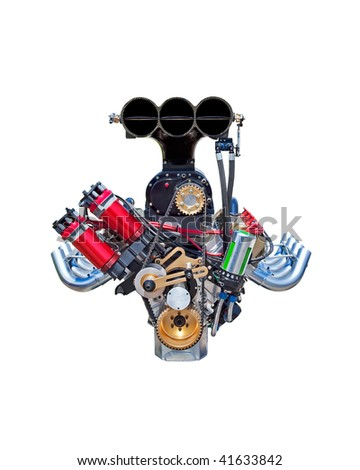 A dragster racing engine isolated on a white background